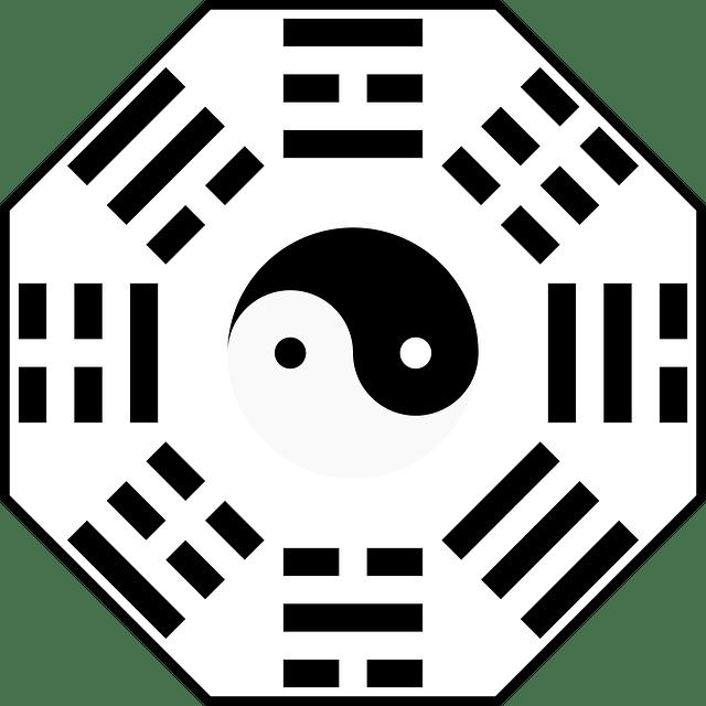 Yin och yang med Bagua-tecknen