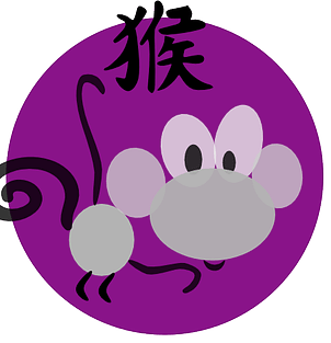 Symbol och kinesiskt tecken för apan inom den kinesiska astrologn och kinesiska horoskop.
