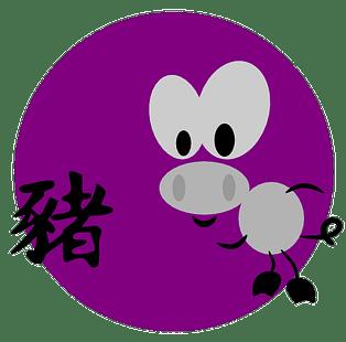 Symbol och kinesiskt tecken för grisen inom den kinesiska astrologn och kinesiska horoskop.
