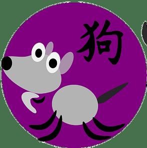 Symbol och kinesiskt tecken för hunden inom den kinesiska astrologn och kinesiska horoskop.