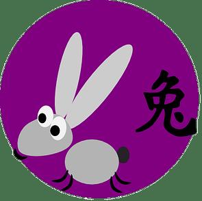 Symbol och kinesiskt tecken för kaninen inom den kinesiska astrologn och kinesiska horoskop.