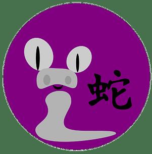 Symbol och kinesiskt tecken för ormen inom den kinesiska astrologn och kinesiska horoskop.