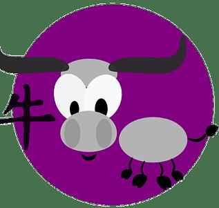 Symbol och kinesiskt tecken för oxen inom den kinesiska astrologn och kinesiska horoskop.