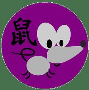 Symbol och kinesiskt tecken för råttan inom den kinesiska astrologn och kinesiska horoskop.