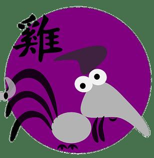 Symbol och kinesiskt tecken för tuppen inom den kinesiska astrologn och kinesiska horoskop.